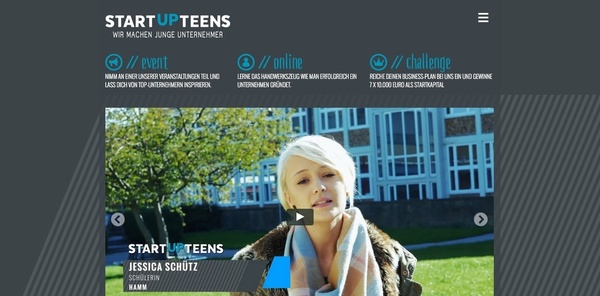 Screenshot der Website von Startup Teens: Ordentlich was los