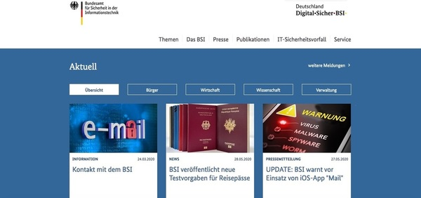 Screenshot der Website des Bundesamtes für Sicherheit in der Informationstechnik (Foto: BSI)